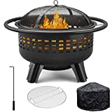 "Girapow Outdoor Fire Pit, 31"" Wood Burning Heavy Duty Firepit Bowl with PVC Cover, Spark Screen, Cooking Grate, Fire Poker for Outside Camping Picnic Campfire Bonfire Patio Backyard Garden BBQ"