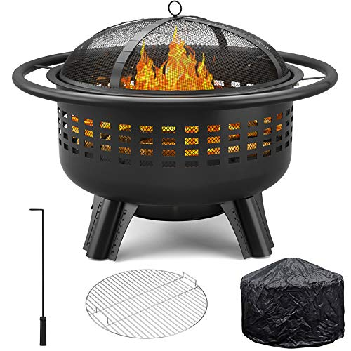"""Girapow Outdoor Fire Pit, 31"""" Wood Burning Heavy Duty Firepit Bowl with PVC Cover, Spark Screen, Cooking Grate, Fire Poker for Outside Camping Picnic Campfire Bonfire Patio Backyard Garden BBQ"""