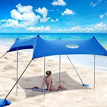 UMARDOO Family Beach Tent with 4 Aluminum Poles Pop Up Beach Sunshade with Carrying Bag  Blue 10X9 FT