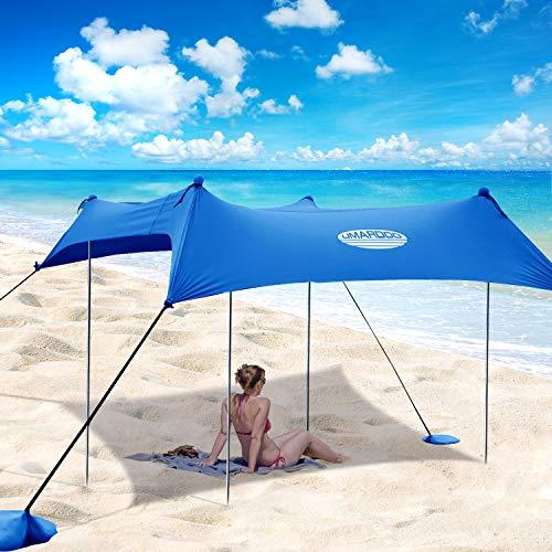 UMARDOO Family Beach Tent with 4 Aluminum Poles, Pop Up Beach Sunshade with Carrying Bag (Blue, 10X9 FT)