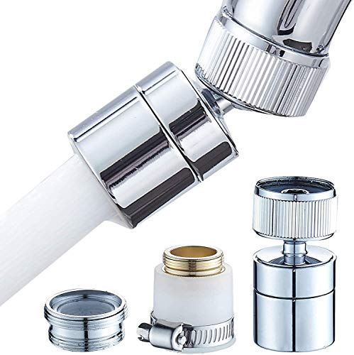Upgraded Kitchen Sink Faucet Aerator 360-Degree Swivel Faucet Aerator Dual-function 2-Flow Sprayer kitchen faucet attachment Water Saving Kitchen Tap Head High Pressure Sink Sprayer Head (Classic B)