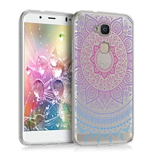 kwmobile bq Aquaris VS Plus Hülle - Handyhülle für bq Aquaris VS Plus - Handy Case in Indische Sonne Design Blau Pink Transparent