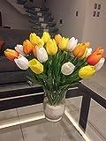 Ramos de tulipanes artificiales de flores para el hogar, cocina, sala de estar, comedor, decoración de boda (blanco, amarillo, rojo atardecer)
