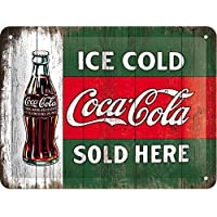 Nostalgic-Art Cartel de Chapa 15x20 -Coca-Cola - Ice Cold Sold Here