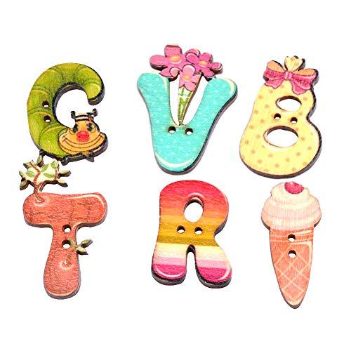 Letra Botón 50pcs Costura de Madera Botones Botones Decorativos para Las Artes de DIY 2 Agujeros Botones Accesorio de Vestir Color al Azar