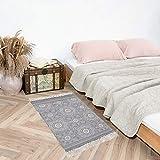 SHACOS Handgewebte Terrassen Teppiche Mandala mit Quasten Vintage Baumwollteppiche Waschbar Grau Ideal für Eingangstür, Küche, Keller usw. 60 x 90 cm - 2