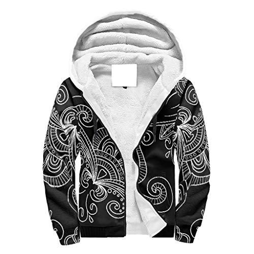 O2ECH-8 Männer Durchgehender Reißverschluss Warm Vlies Sweatshirts Jungen Black Mandala Drucken Personalisieren - Flowers Baumwollvlies Komfort Trainingsjacke für Halloween White m