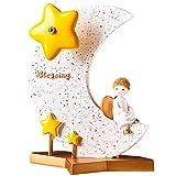 KGDC Escultura Ornamentos Luna Caja de música la decoración del hogar for niñas nietas for niños bebés cumpleaños calcetín, Musical, Resina Decoración del Escritorio