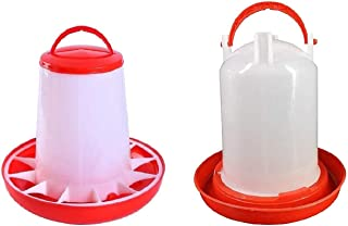 E-KAY Baby Chick Feeder and Waterer Kit for Poultry Fount for Up to 12 Chicks,Broiler Easy to Clean,Highly Practical for C...