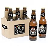 Big Dot of Happiness Day of the Dead - Halloween Sugar Skull Party Decorations for Women and Men - 6 Beer Bottle Label Stickers and 1 Carrier