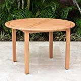 Amazonia Indiana Round Patio Dining Table | Teak Finish | Durable and Ideal for Indoors and Outdoors, Brown