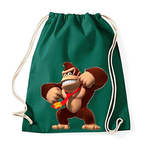 TRVPPY Baumwoll Turnbeutel Sportbeutel Modell Donkey Kong Farbe Flaschengrün