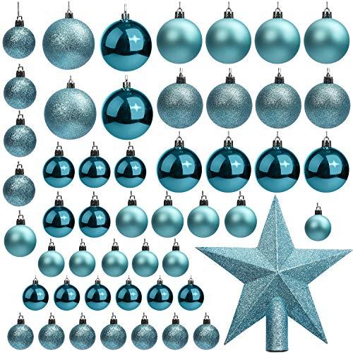 BELLE VOUS Bola de Navidad (Pack de 50) Tamaños Variados Azul Purpurina con Estrella de Navidad para la Punta del Árbol - Adornos de Navidad Colgante para Decoraciones Interiores y Exteriores