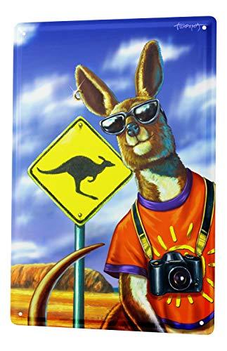 LEotiE SINCE 2004 Blechschild Welt Reise Känguru Tourist Kamera Australien Wand Deko Schild 20x30 cm Vintage Retro Wanddekoration