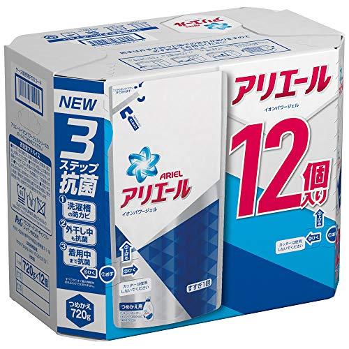 【再開!】アリエール 洗濯洗剤 液体 イオンパワージェル 詰め替え ケース販売用 720gx12個 1,568円(130.7円/個)送料無料!