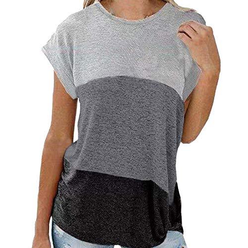 Kurzarm Damen T-Shirt Casual Patchwork Sommer Lose Rundhals Shirt Asymmetrisch Geknoteter Saum Oversize Oberteile XL
