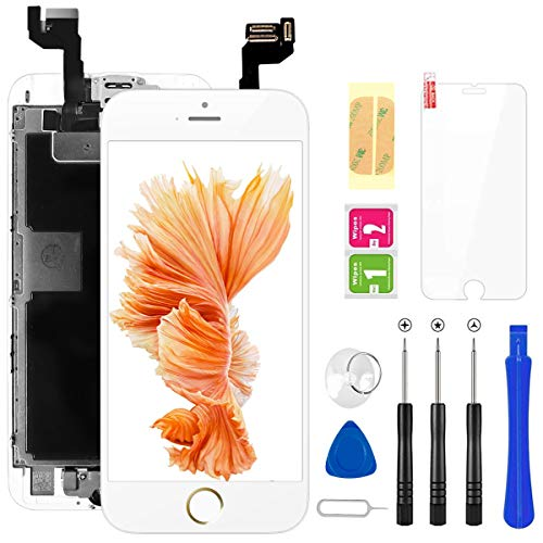 FLYLINKTECH Für iPhone 6s Display Weiß, Ersatz Für LCD Touchscreen Digitizer vormontiert mit Home Button, Hörmuschel, Frontkamera Reparaturset Komplett Ersatz Bildschirm mit Werkzeuge
