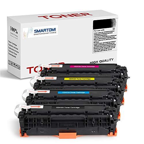 SMARTOMI 4er-Pack CE-410X Kompatible KCMY-Tonerkartuschen HP CE410X zur Verwendung mit Druckern der HP LaserJet Pro 300 M351a MFP M375nw;400 M451nw M451dn M451dw M475dn M475dw M476dn M476dw M476nw