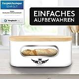 VALELA Brotkasten - Brot Box ideal zur Brotaufbewahrung geeignet, Testsieger Brotkasten mit Schneidebrett, hochwertiger Brotkorb Weiß - 5