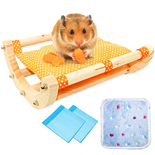 Roundler Holz Meerschweinchen Hamster Bett, Kleintiere Bettwäsche, Abnehmbarer Kleintier Schüttler Mit 1 Wattepad Und 2 Inkontinenzauflage, Für Meerschweinchen Chinchillas Igel Eichhörnchen (H1)