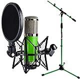 Monkey Banana Bonobo Studio Micrófono de condensador verde + soporte para micrófono keepdrum verde