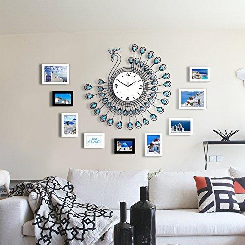 DHGY-Paon dans le salon creative murale horloge moderne « secret » de l'horloge murale photo élégant et minimaliste (sans batterie)Cadeau de cadeau de Noël de vacances d'ami cadeau