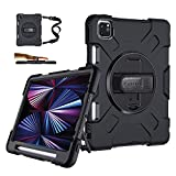 iPad Pro 11 Case 2021 3rd Generation w/Pencil Holder - Military Grade [15ft Drop Tested] Shockproof Protective Silicone Cover for iPad 11 Inch 2nd Gen 2020/2018 - Stand+ Handle+ Shoulder Strap Black
