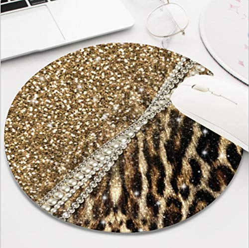 Ydset Beautiful Chic Girly Leopard Animal Faux Fur Print Custom Mouse Pad Waterproof Material Non-Slip Rubber Round Mouse Pad(7.8x7.8x0.08inch) for Office Desktop or Gaming Mouse Mat Keyboard Pad
