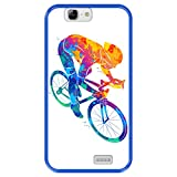 Funda Azul para [ Huawei Ascend G7 ] diseño [ Ciclista Colorido Abstracto ] Carcasa Silicona Flexible TPU