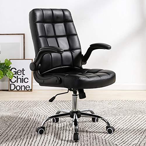 WZYJ Silla de Oficina, Comercial ergonómico de Alta Volver Bonded Leather Silla ejecutiva, Silla cómoda para hogar y Oficina,Negro,Mobile handrail