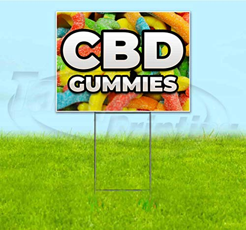 CBD Gummies (18' X 24') Corrugated Plastic Yard Sign, Bandit, Lawn, Decorations, New, Advertising, USA