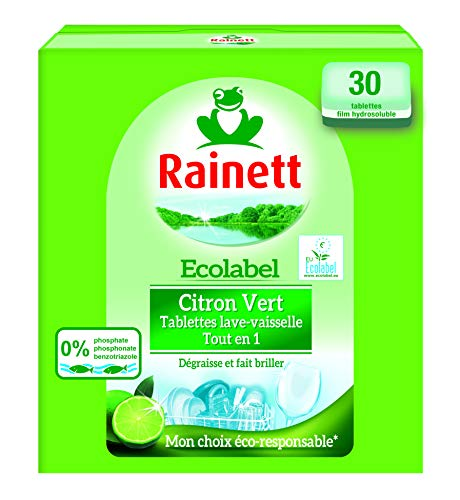 Rainett - Ecolabel - Citron Vert,  Tablettes Lave-Vaisselle Tout en un - 30 tablettes film hydrosoluble