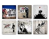 Banksy Bilder Set B, 6-teiliges Bilder-Set jedes Teil