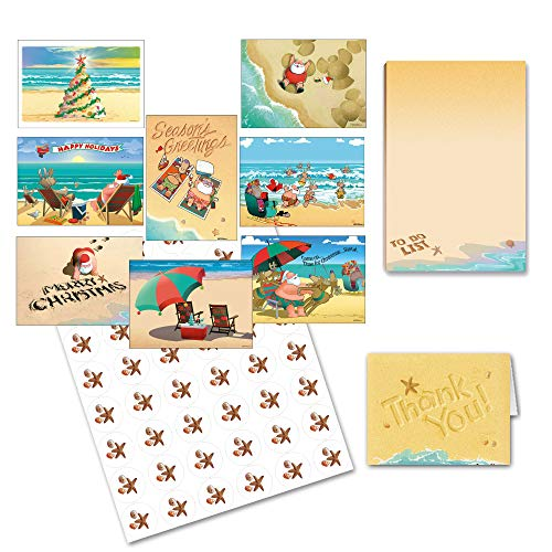 Beach Gift Set - Beach Card Variety Pack PLUS Magnetic Beach Notepad PLUS Beach Notecards Plus Beach Stickers-Bulk Boxed Set Funny Cards, Pads, Stickers (Beach Christmas)