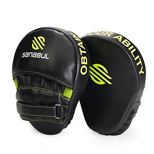 Sanabul Essential Boxing MMA Punching Mitts (Black/Green)