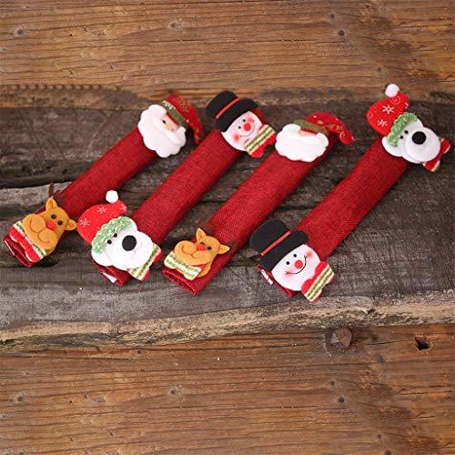 WFRAU Staub Türgriff Abdeckungen,4 Stück Weihnachtsmann Schneemann Kühlschrank Tür Griff Abdeckung Kühlschrank Türgriff Handschuhe Dekor Kühlschrankhandschuhe (Mehrfarbig, Einheitsgröße)