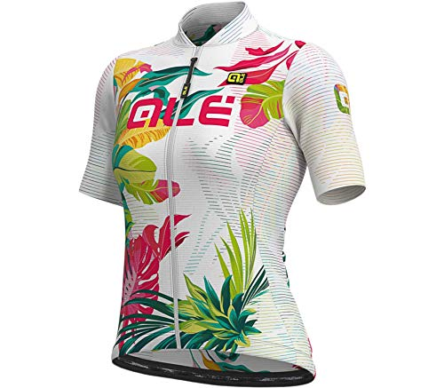 Alé Cycling Solid Tropika Kurzarm Trikot Damen White/Multicolour Größe M 2021 Radtrikot kurzärmlig