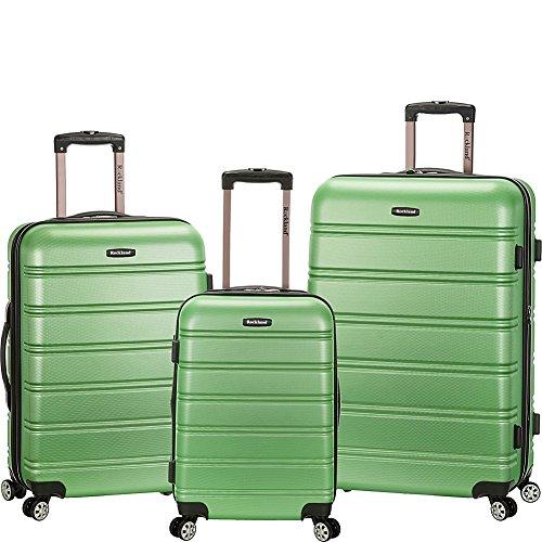 Rockland Luggage Melbourne 3-Piece Hardside Spinner Luggage Set (Green/Grey)