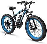 Bicicleta eléctrica Adulto Fat Tire Bike Electric Mountain, 26 pulgadas ruedas, marco ligero de aleación de aluminio, delantero Suspensión, frenos de disco doble, eléctrico bicicleta de trekking for e