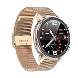 Nuevo DIY Reloj Face Hombres Smart Watch L11 Y 24 Horas Monitor De Ritmo Cardíaco IP68 Impermeable Smart Band Support Multi-Sports (Color : Golden Metal)