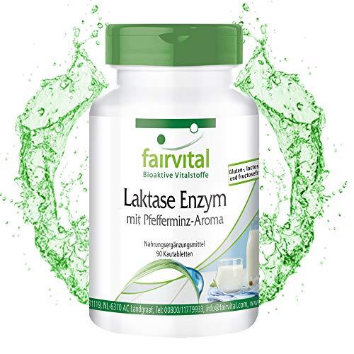 Enzyme Lactase - pour 3 mois - Fortement dosé - 90 comprimés à mâcher - Saveur de menthe