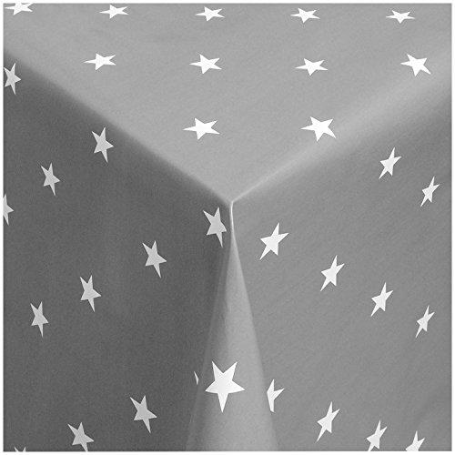 MG Wachstischdecke Gartentischdecke Abwaschbar nach Wunschmaß WEIHNACHT-DESSIGN-Sterne GRAU-Weiss (280-07) - 100 x 140 cm