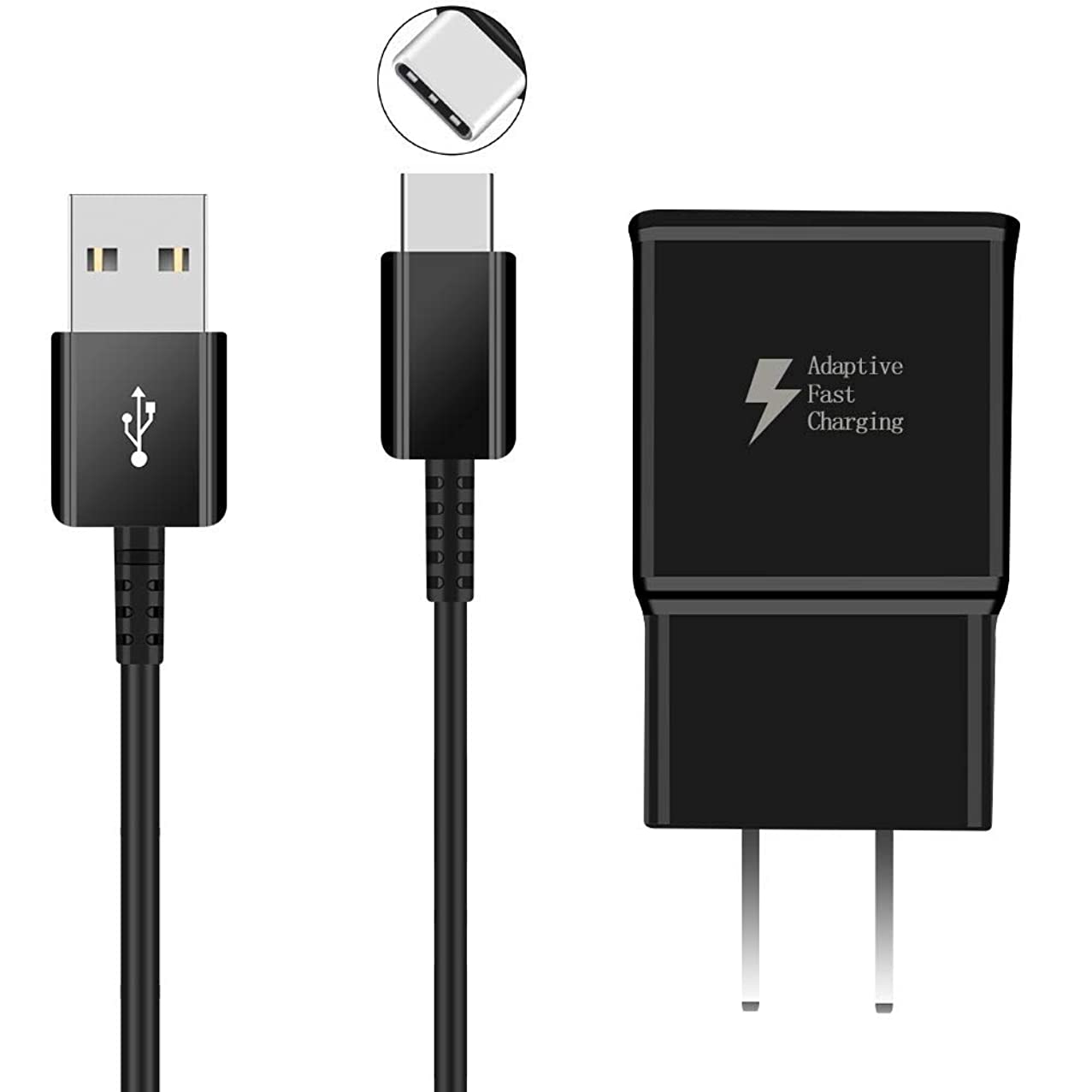LYWHL Adaptive Fast Wall Charger Adapter with 4FT USB Type C Cable Compatible with Samsung Galaxy S8 S9 S10,LG G5 G6 G7 and Other Smart Phones Support AFC (Adaptive Fast Charging). (Black)