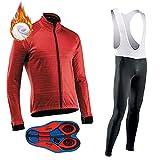 ZQD Camiseta de Ciclismo for Hombre Mangas térmicas de Invierno for Hombre, Camisa de Bicicleta de montaña Ropa de Ciclismo 3 Bolsillos, Camisa de Bicicleta de cojín de Gel 9D