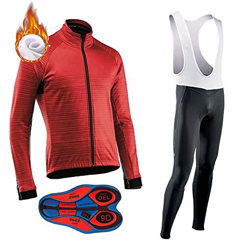 ZQD Completo Ciclismo Uomo Manica Lunga Invernale, Maglia Manica Lunga+Pantaloni Lunghi, Cuscino Gel 9D,Moda Set Completo, Antivento Asciugatura per MTB Ciclista Corsa All'aperto