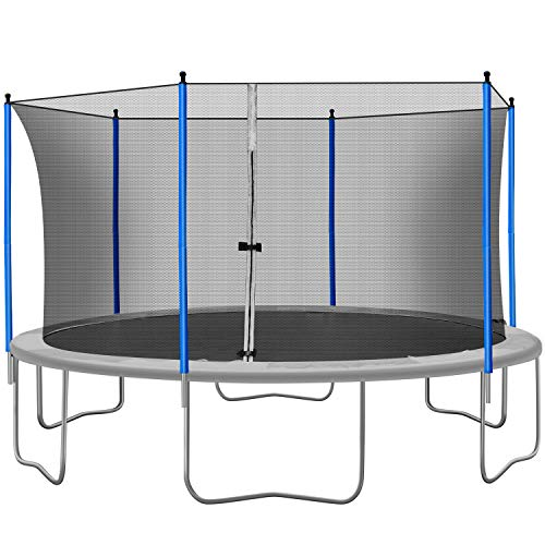 15FT Trampoline for Kids and Adults, 800LBS Trampoline with Safety Enclosure Net, Combo Bounce Jump Exercise Fitness Outdoor Trampoline Capacity for 6-7 Kids