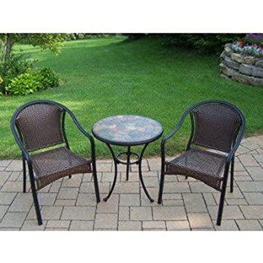 Oakland Living Stone Art 3-Piece Bistro Set with Tuscany Wicker Chairs, 24-Inch