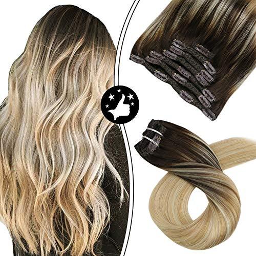 Moresoo 18 Zoll/45cm Ombre Farben Echthaar Clip in Extensions Für Komplette Kopf Braun #2 bis Karamell #27 bis Blond #613 Glatt Haarverlängerung Balayage Haarfarbe 7 Tressen 100g