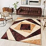 TAPISO Dream Tappeto Soggiorno Salotto Moderno Beige Marrone Geometrico Quadrato A Pelo Corto 200 x 300 cm
