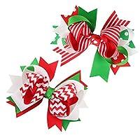 WINOMO ヘアピン ヘアクリップ 髪飾り グログラン リボン クリスマス飾り テーマ かわいい ちょう結び ヘアアクセサリー レディース 女の子 結婚式 誕生日 冬 2個セット(カラーミキシング)